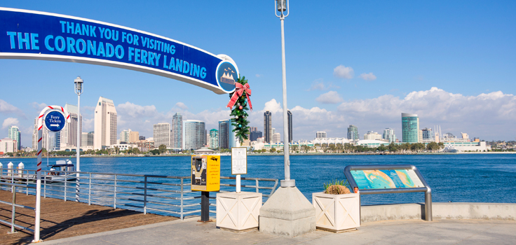 Docks of Coronado islan and panoramic view of San Diego