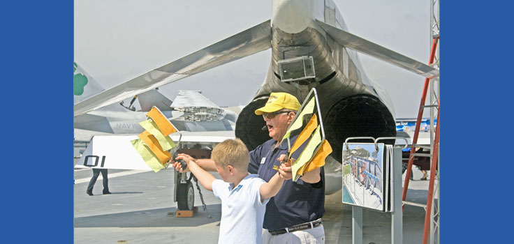 Uss Midway docent and child