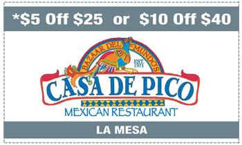 Coupon for Casa De Pico Restaurant