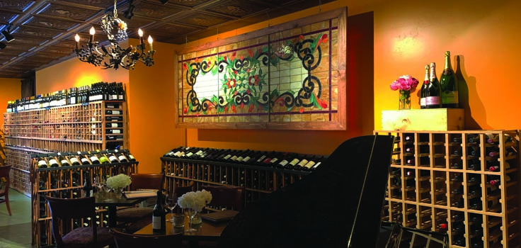 wine bistro with piano
