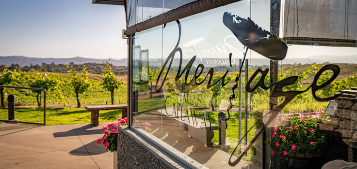 Meritage Glass Sign Side View with Vineyard